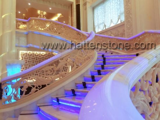 Natural marble and onyx staircases design for villa